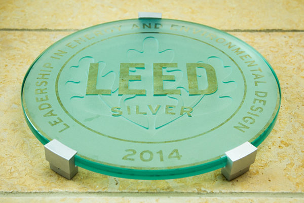 LEED Silver Certification plaque, 2014 (Leadership in Energy and Environmental Design)