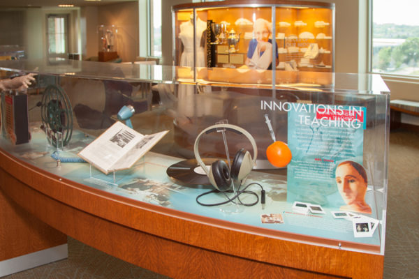 photo of a museum display of nursing history at Cooper Hall