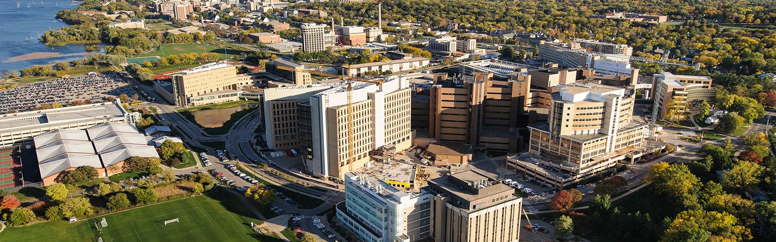 Aerial photo of the UW-Madison medical campus.