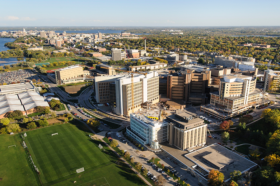 Aerial photo of the UW Medical Campus.
