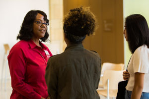 Dean Linda Scott with students