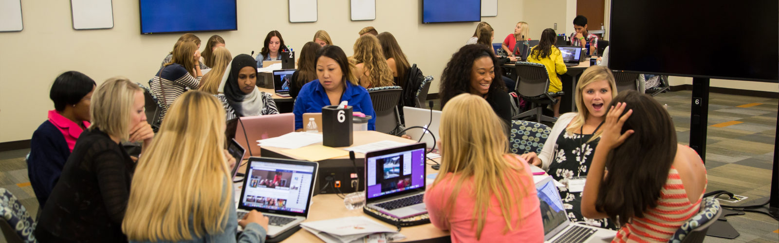 photo of students in a technology-enhanced active learning classroom in Cooper Hall
