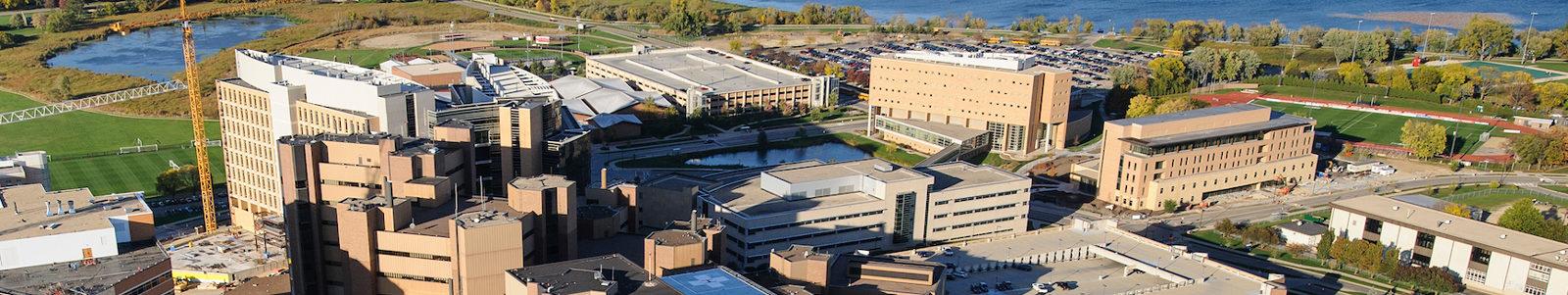 aerial photo of UW-Madison campus