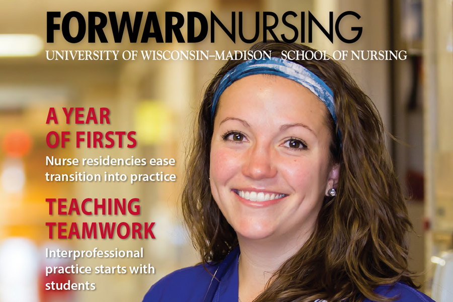 image of a section of the front of ForwardNursing magazine, showing a nursing student