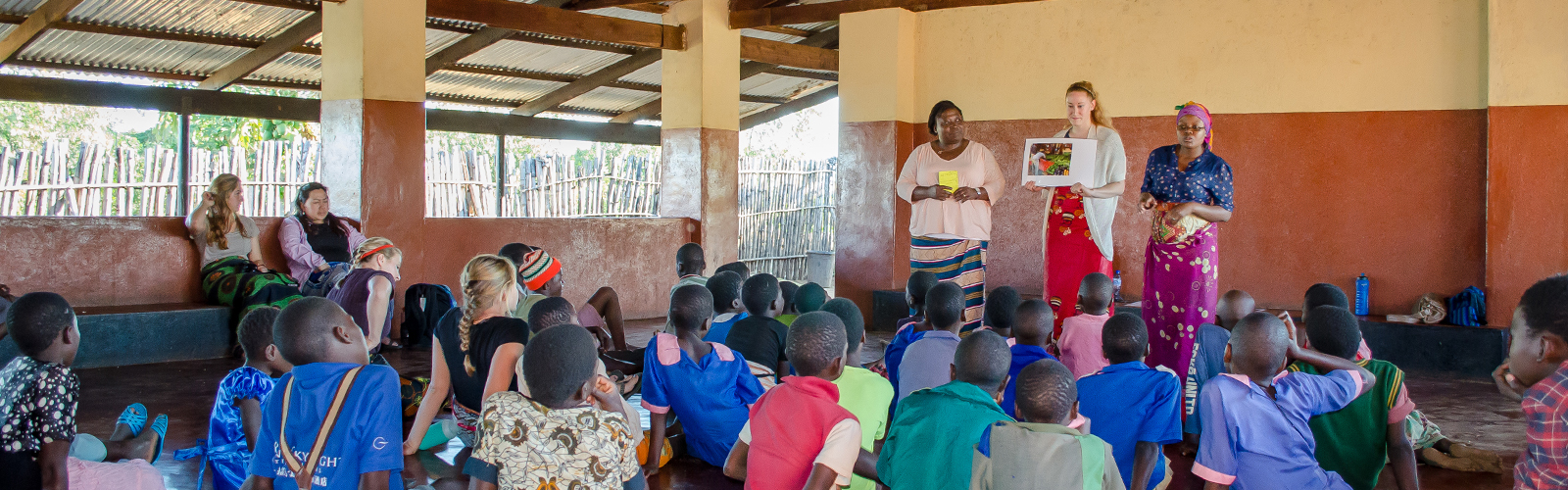 Nursing Students teaching young people in Malawi about public health